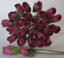 6mm BURGUNDY ROSE BUDS (L) Mulberry Paper Flowers